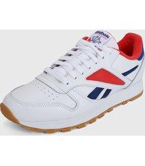 tenis lifestyle blanco-rojo-azul reebok leather mark