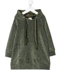 caffe' d'orzo long-sleeve hoodie dress - green
