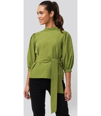 trendyol binding detailed blouse - green