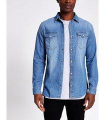 mens jack and jones blue denim shirt