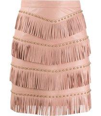 drome stud-embellished fringed skirt - pink