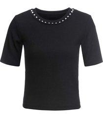 maglia a costine con perle (nero) - bodyflirt