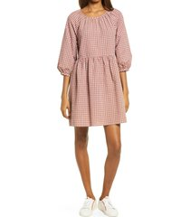 women's madewell easy gingham dress, size 14 - brown