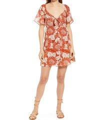 women's madewell women's sunflower season tie front silk minidress, size 8 - orange