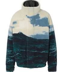 burberry sea print fleece jacket - multicolour