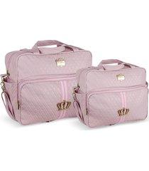 kit bolsas bebê maternidade princess coroa rosa  2 peças griff - tricae