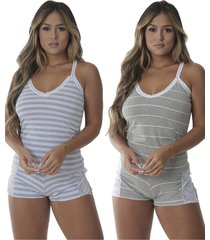 pijama para dormir grã©cia kit 2 - preto - feminino - dafiti