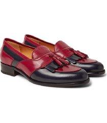 new handmade two-tone leather tasselled kiltie loafers men style