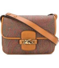 etro brown calf leather shoulder bag
