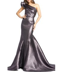 women's mac duggal asymmetrical ruffle trumpet gown, size 0 - purple