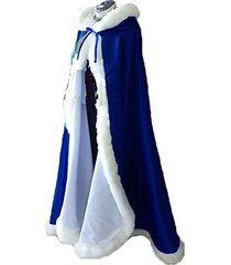 royal blue long wedding cloak with hooded cape winter fur trim and hand muff 59