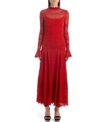 women's alexander mcqueen lace pointelle long sleeve maxi sweater dress, size x-small - red