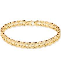 "men's railroad track link 8.5"" bracelet in 10k yellow gold"