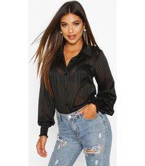 gestreepte blouse met geplooide manchetten, zwart