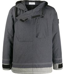 grey hooded grid-print jacket