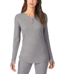 cuddl duds women's stretch thermal long-sleeve split-neck top