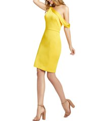 women's mac duggal one-shoulder cocktail dress, size 6 - yellow