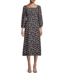 squareneck moody floral-print midi dress