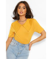 cotton poplin collar t-shirt, mustard
