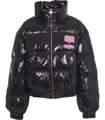chiara ferragni black down jacket patch logo