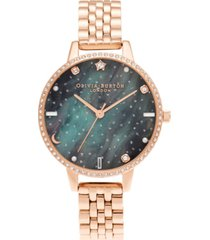 olivia burton women's celestial rose gold-tone bracelet watch 34mm
