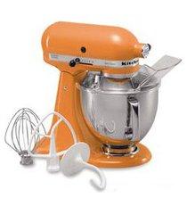 batedeira planetária artesian kitchenaid stand mixer com 03 batedores tangerine