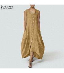 zanzea mujer verano sin mangas botones abajo playa suelta kaftan camisa vestido plus -amarillo