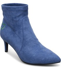 boots in faux suede w. embroidery shoes boots ankle boots ankle boot - heel blå coster copenhagen