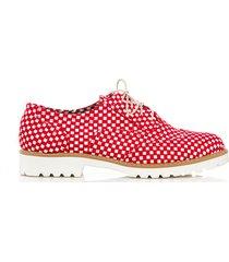 skórzane półbuty zapato 258 czerwone kwadarty