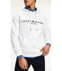 tommy hilfiger men's classic logo hoodie white - xs