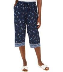 karen scott petite sailboat border-print capri pants, created for macy's