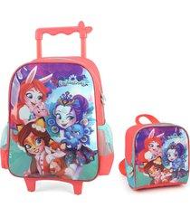 kit mochila de rodinhas escolar feminina com lancheira enchantimals vermelha 33242