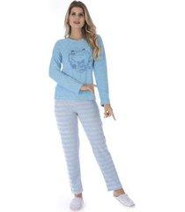 pijama de inverno listrado victory feminino
