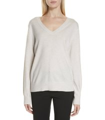 women's vince weekend v-neck cashmere sweater, size large - white
