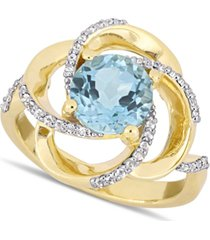 delmar blue topaz (2-1/3 ct. t.w.) & white topaz (1/4 ct. t.w.) swirl statement ring in 18k gold-plated sterling silver