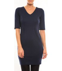 korte jurk vero moda regina 2/4 short dress 10099101 bleu