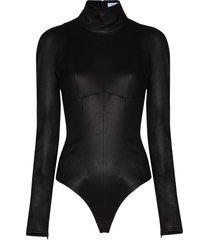 mugler high-neck long-sleeve bodysuit - black