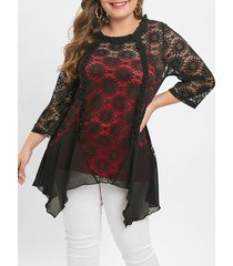 plus size cami top and lace irregular hem blouse