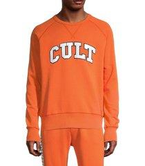 cult of individuality men's fleece crewneck sweatshirt - orange - size m