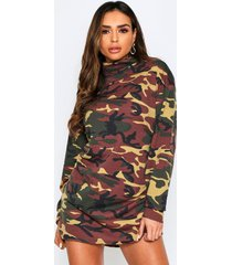camo high neck sweat dress, khaki