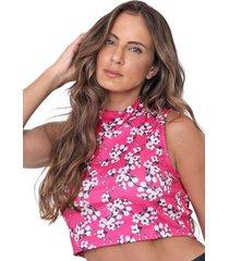 regata cropped lanã§a perfume gola alta pink - rosa - feminino - poliã©ster - dafiti