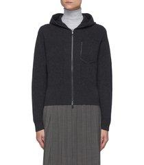 rhinestone trimmed patch pocket hooded cashmere rib jacket