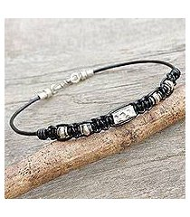 men's leather and silver braided bracelet, 'brave in black' (thailand)