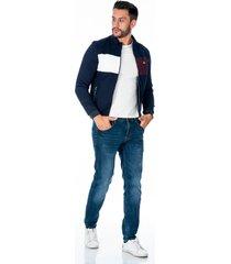 chaqueta azul para hombre con bolsillos laterales con cremallera plateada combinado gris y vinotinto