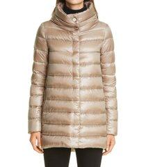 women's herno amelia high/low down jacket, size 0 us - beige