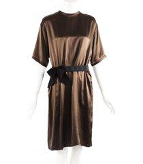 lanvin brown silk ribbon bow draped knee length dress brown sz: l