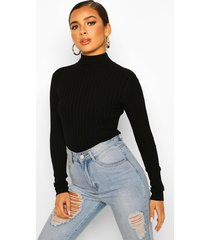 petite high neck fine knit rib sweater, black