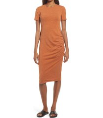 women's treasure & bond side ruched body-con dress, size large - brown