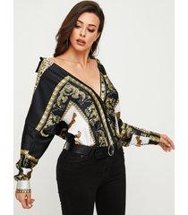 blusa de manga larga con cuello clásico y estampado de bufanda negra yoins
