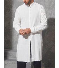 incerun estilo chino para hombre vendimia cuello alto medio largo casual camisa